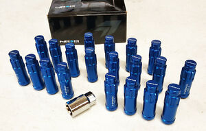 Nrg Steel Extended Locking Lug Nuts Dust Cap Cover Set 12x1 5 Blue set Of 20