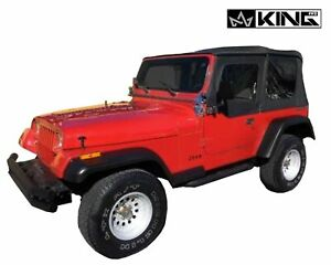 King 4wd Prm Replacement Soft Top Blk Dia With Tinted Window Jeep Wrangler 87 95