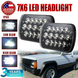 Black 7x6 Pair Led Headlights 1986 1995 Jeep Wrangler Yj 1984 2001 Cherokee Xj