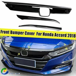 3pcs Glossy Black Front Hood Lid Bonnet Grille Cover Trim For Honda Accord 18 20