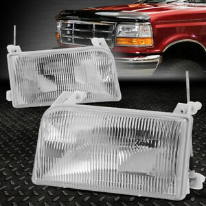 For 92 98 Ford F 150 F 250 F 350 Bronco Chrome Housing Crystal Lens Headlights