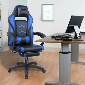 Racing Game Massage Chair Pu Leather Ergonomic Computer Office Chair Seat Blue