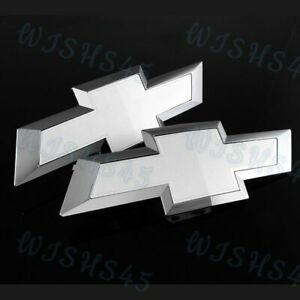 White Front Tailgate Bowtie Emblems For 2014 2015 Gm Chevy Chevrolet Silverado