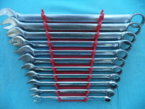 Snap On Sae 12 Point Combination Wrench Set Oex711 3 8 1 11 Pc W Rack Nice