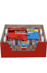 3m Scotch Shipping Packaging Tape Clear 6 Rolls W Dispensers Heavy Duty