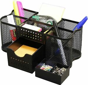 Small Desk Supplies Organizer Caddy Pen Pencil Rack Home Table Office Black New