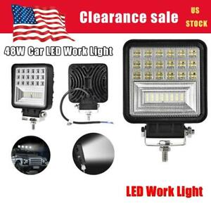 Square 48w Led Work Light 12v 24v Off Road Flood Spot Lamp For Car Truck Suv