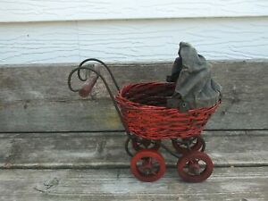 Vintage Victorian Style Baby Doll Carriage Stroller Buggy Wicker Wood Metal