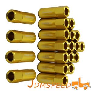 New Gold M12x1 5 60mm Extended Forged Aluminum Tuner Racing Lug Nut Kits20pcs