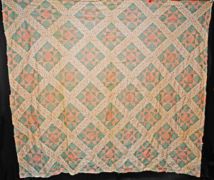 Vintage Cluster Of Stars Quilt Top 1940 Cotton Hand Sewn Patchwork 88 X 80