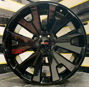 22 Gmc Yukon Sierra Denali Gloss Black Wheels Chevy Tahoe Silverado Rims New