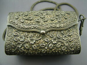 Omg Sterling Silver Vtg Antique Purse Stamped Repousse Floral Pierced W Strap
