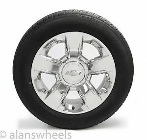 4 Chevy Suburban Silverado Tahoe 20 Chrome Factory Oem Wheels Rims Conti Tires