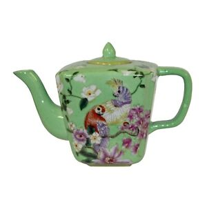 Ceramic Decorative Green Color Teapot With Parrot And Flowers Painting N586