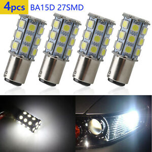 4pcs White Ba15d 5050 27 Smd Rv Camper Trailer Brake Led Light Bulbs 1076 1004