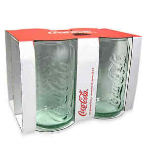 Coca-Cola 12 oz. Embossed Green Glass Can (Set of 4)