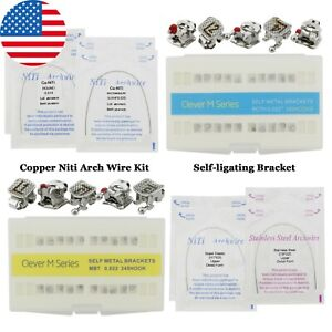 Dental Orthodontic Self ligating Bracket Copper Niti Arch Wire Kit Roth Mbt 022