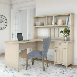 The Gray Barn Ermine 60 inch L shaped Desk With Hutch White Large