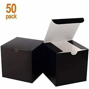 Small Black Gift Box 50 Pack 4 Inches Fold Easy Assemble Paper Bridesmaids For