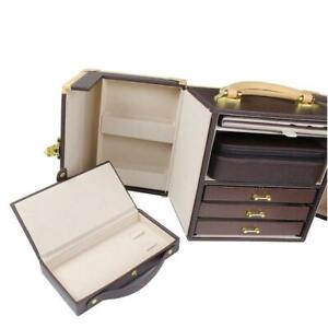 Premium Leather Jewelry Chest Carrying Case With Lock key