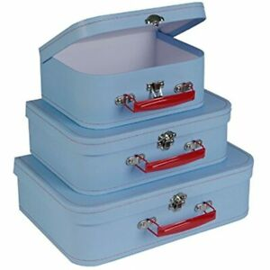 Cardboard Suitcase Boxes With Handle set Of 3 Retro Light Blue Paperboard For