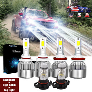 For 2015 2019 Chevy Colorado 6000k White Led Headlight High Low Fog Light Bulbs