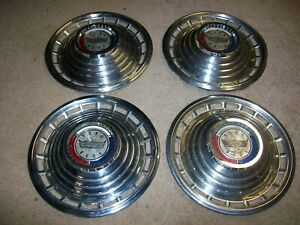 1963 63 Ford Galaxie 500 4 14 Hubcaps Wheel Covers Nice