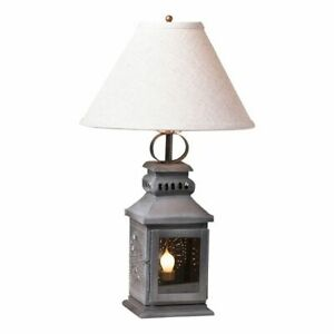 Country New Miner S Lantern Table Lamp With Shade In Antique Tin