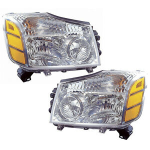 Headlights Left And Right Pair High Quality Capa Fits 2004 2007 Titan armada