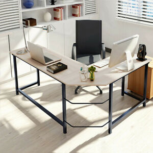 L shaped Corner Computer Desk Home Office Study Laptop Pc Work Wood Steel Table