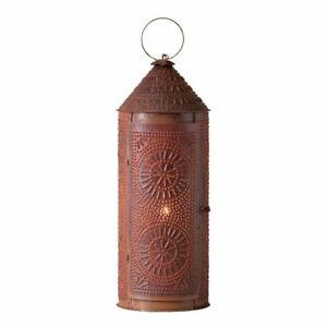 Primitive New Tall Chimney Lantern Accent Light In Rustic Punched Tn