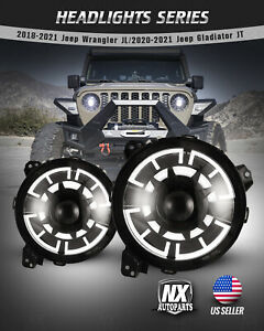 For 2018 Jeep Wrangler Jl Gladiator Jt Led Drl Projector Headlights Clear Pair