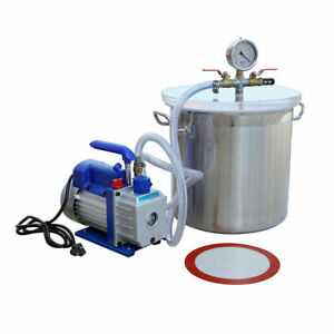 5 Gallon Vacuum Chamber Urethane Degassing Silicone 110v 3 Cfm Single Stage Pump