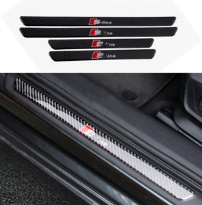 Carbon Fiber Car Door Sill Scuff Welcome Pedal Protect Fit For Audi Q5 2018 2020