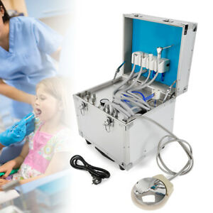 Portable Dental Mobile Delivery Unit 4h Rolling Case Air Compressor Suction 360w