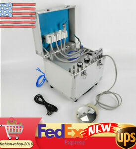 Portable Dental Unit Metal Mobile Rolling Case 4 Holes air Compressor 110v