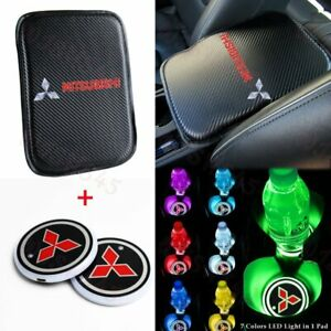 For Mitsubishi Center Console Armrest Cushion Mat Pad Cover With Cup Coaster Set