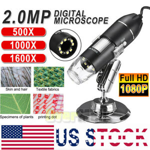 1000x 1600x 8 Led Usb Zoom Digital Microscope Hand Held Biological Endoscope Us