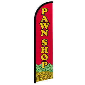 Pawn Shop Full Curve Windless Swooper Advertising Flag Pawn Jewelry Gold