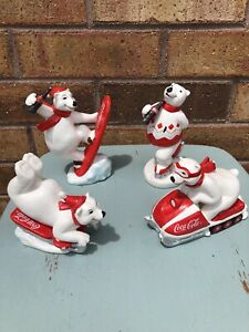 Vintage Coca Cola Polar Bear Figurines — Lot Of 4 From 1995