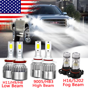For Gmc Sierra 1500 2500 3500 Led Headlights Kit High Low Fog Light 6000k Bulbs