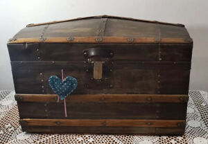 Rare Antique Small Camelback Treasure Chest Steamer Trunk 20