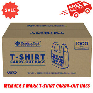 Member s Mark T shirt Carry out Bags 1000 Ct thank You Message Easy to tote