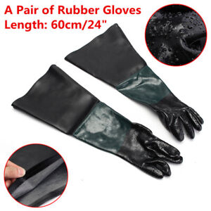 24 Rubber Sand Blast Sandblasting Gloves Anti Slip For Sandblast Cabinet Safety