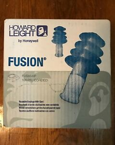 new Howard Leight Fusion Fus30 hp Reusable Earplugs With Cord 100 Pairs