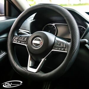 Dsv Standard Black Leather Heated Car Steering Wheel Cover 15 Inches