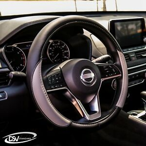 Dsv Standard Gray Leather Heated Car Steering Wheel Cover 15 Inches