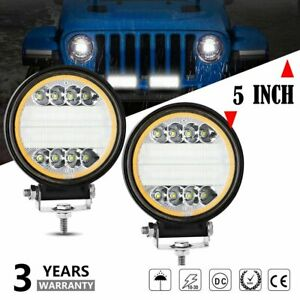 Pair 5 inch Round Led Work Light Pods Combo Drl Offroad Truck Atv Driving Fog