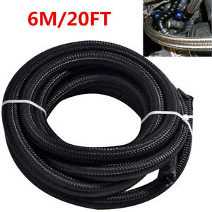 Car Transmission Fuel Hose Oil Gas Line 6m 20ft Nylon Stainless Steel Braided