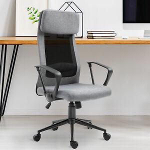 Vinsetto Breathable Office Chair Height Adjustable With Tilt Function Pu
